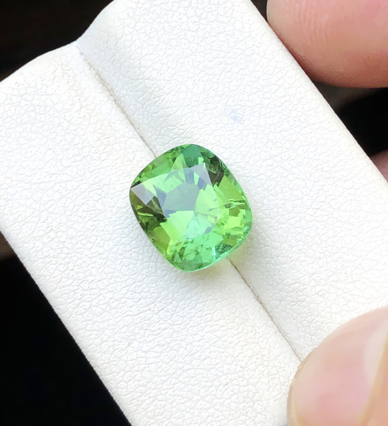 HGTL CERTIFIED 4.83 Ct Natural Greenish Blue Transparent Tourmaline Ring Si