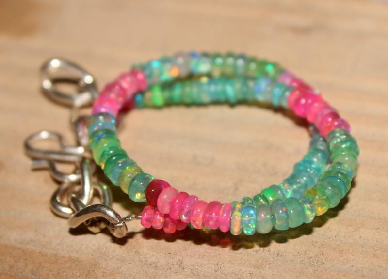 23 Crts Natural Ethiopian Welo Multi Color Opal Bracelet 121