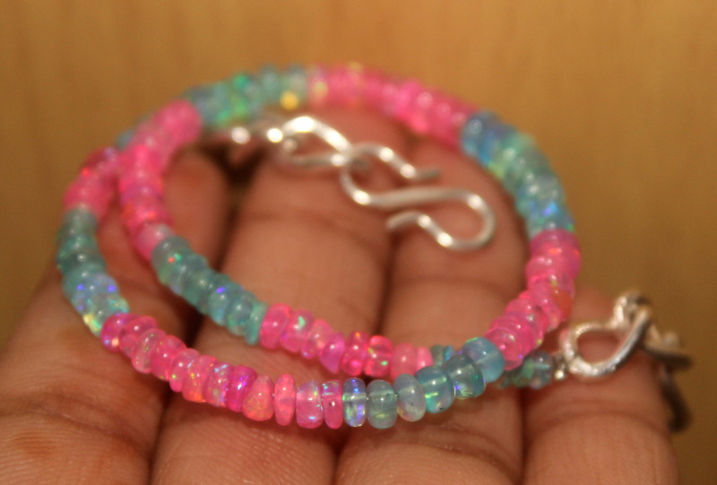 24 Crts Natural Ethiopian Welo Multi Color Opal Bracelet 110