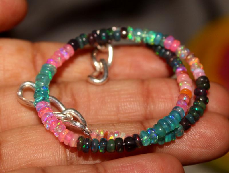 18 Crts Natural Ethiopian Welo Multi Color Opal Bracelet 145