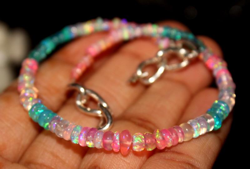 21 Crts Natural Ethiopian Welo Multi Color Opal Bracelet 131