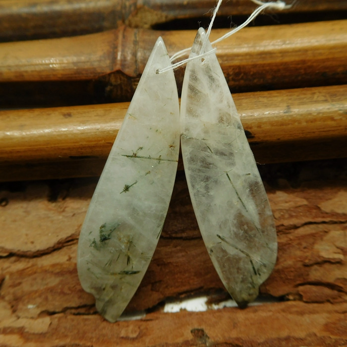 Green rulatied earring pair (G2283)