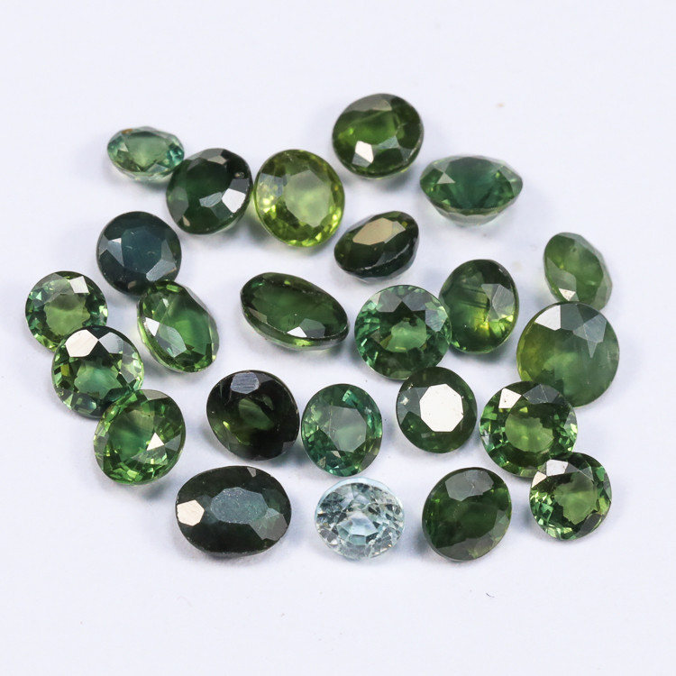 5tcw Natural Blue 3.5mm Round Blue-Green Sapphire Parcel