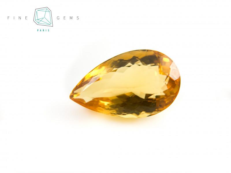 13.69 carats Natural Citrine Pear cut