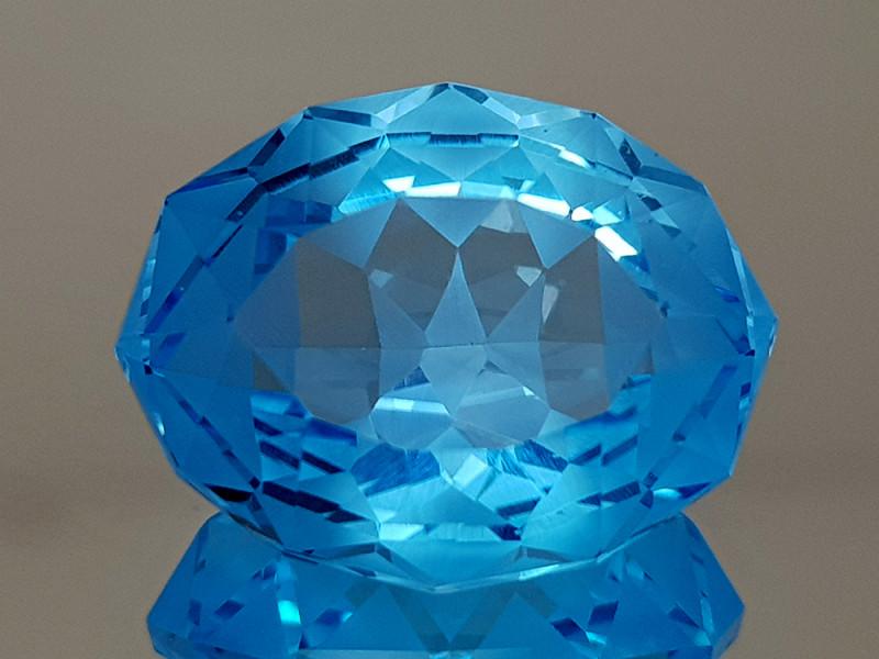 21.89CT NATURAL BLUE TOPAZ PRECISION CUT IGCTPP12