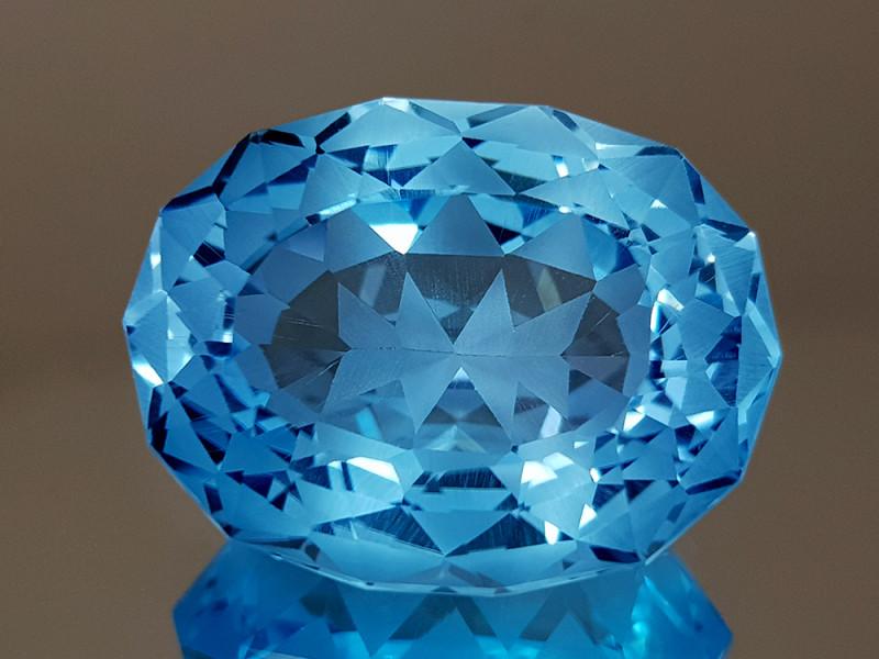 21.97CT NATURAL BLUE TOPAZ PRECISION CUT IGCTPP34