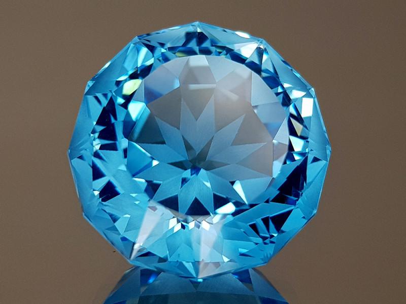 23.74CT NATURAL BLUE TOPAZ PRECISION CUT IGCTPP40