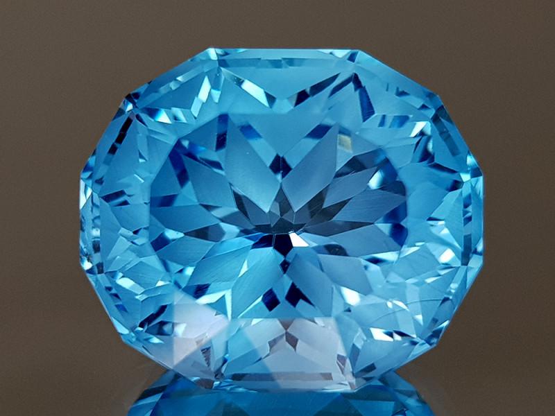 14.27CT NATURAL BLUE TOPAZ PRECISION CUT IGCTPP41