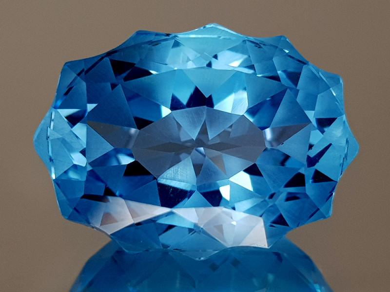 23.41CT NATURAL BLUE TOPAZ PRECISION CUT IGCTPP46