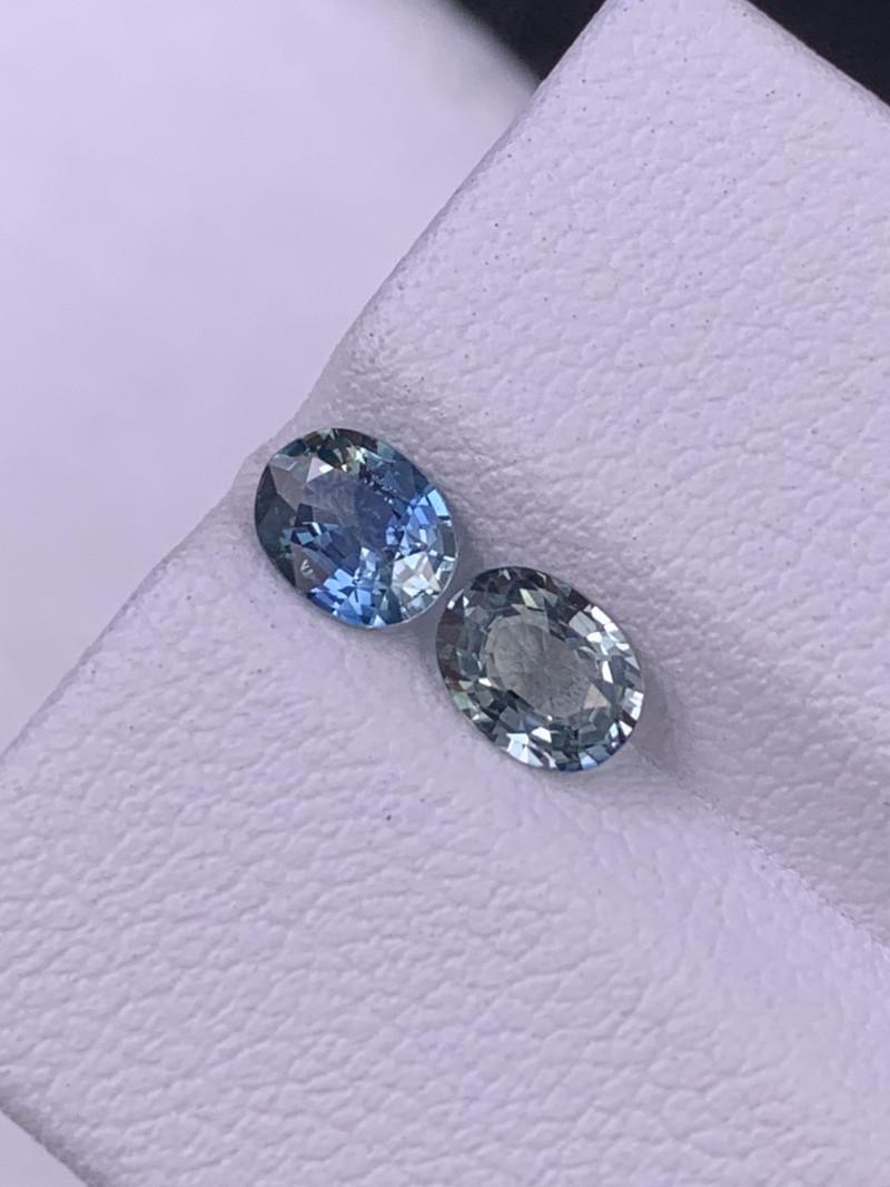 1.02 Cts Srilanka AAA Grade Unheated Sapphire Reverse Pair Ash Grey/Blue