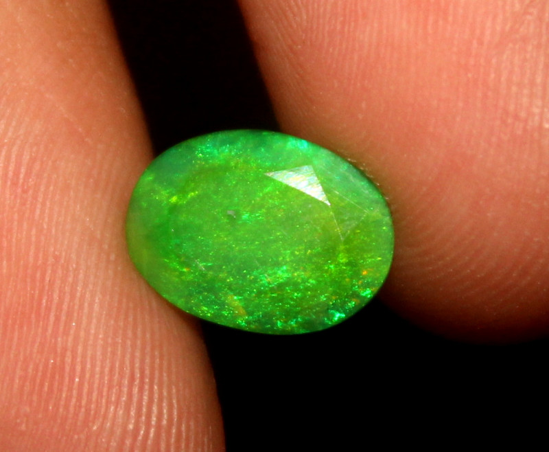 0.90 Crt Natural Ethiopian Welo Faceted Green Opal  385
