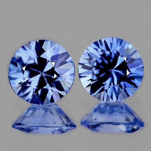 4.00 mm Round 2 pcs 0.55ct Blue Sapphire [VVS]