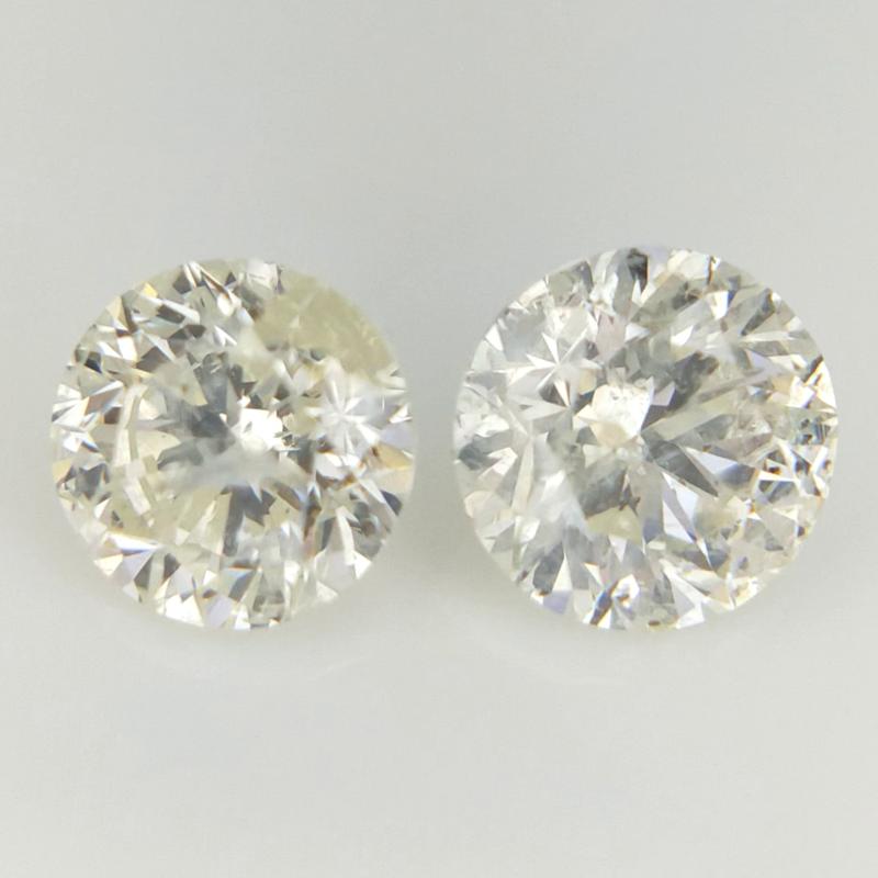 0.71 cts , Round Brilliant Cut , Yellow Colour Diamonds , 2 pcs