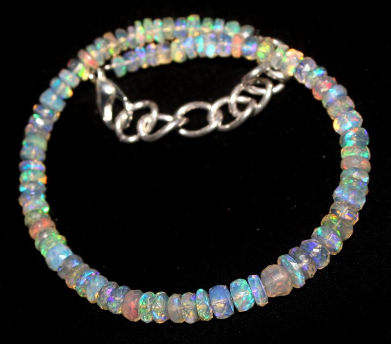 20 Crts Natural Ethiopian Welo Faceted Opal Bracelet 77