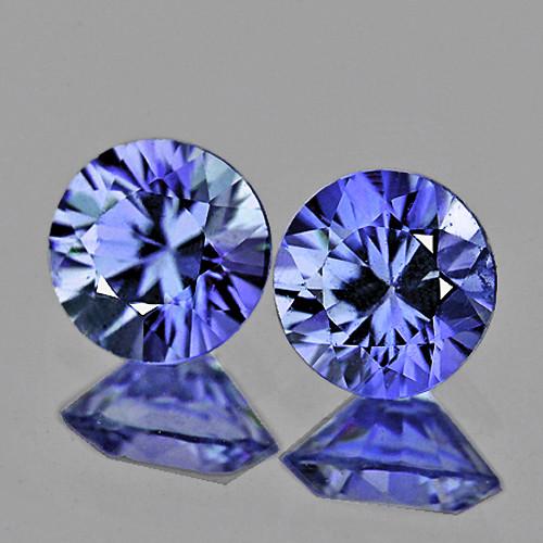 3.50 mm Round 2 pcs 0.38ct Light Blue Sapphire [VVS]