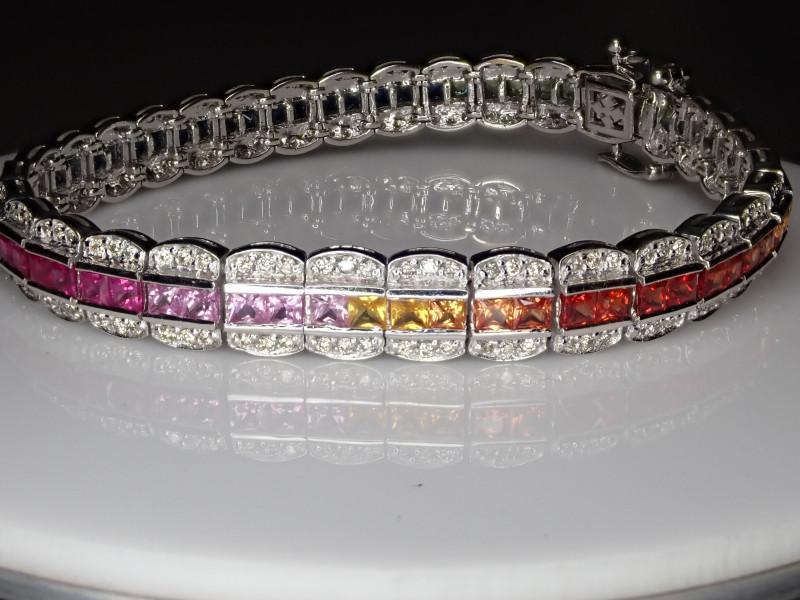 101.35tcw Sapphire Rainbow Bracelet