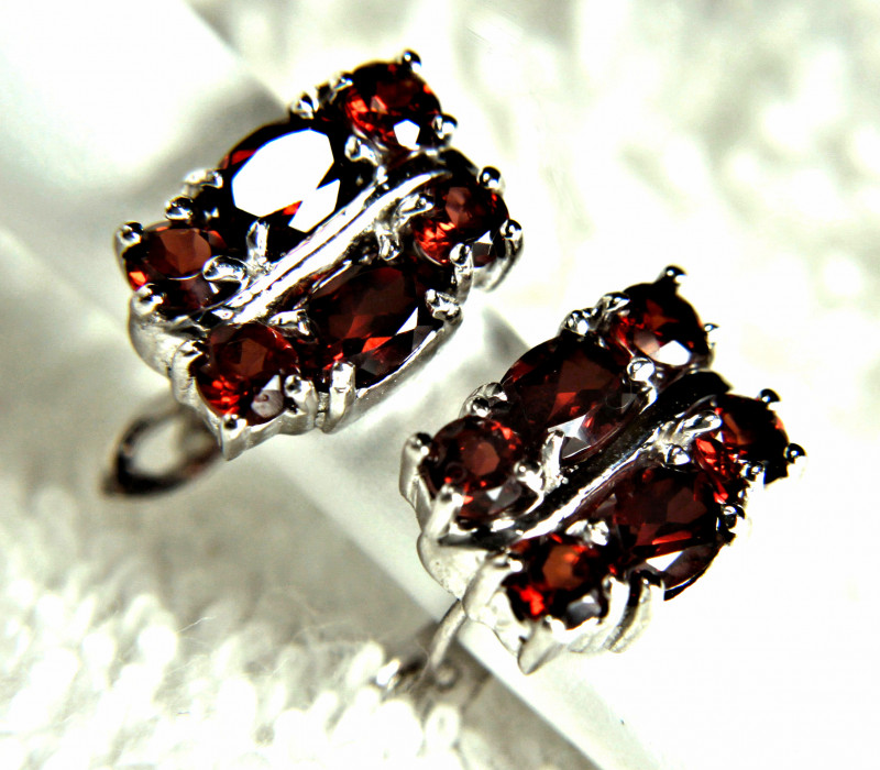 24.40 Tcw. Garnet, Sterling Silver Earrings - Gorgeous