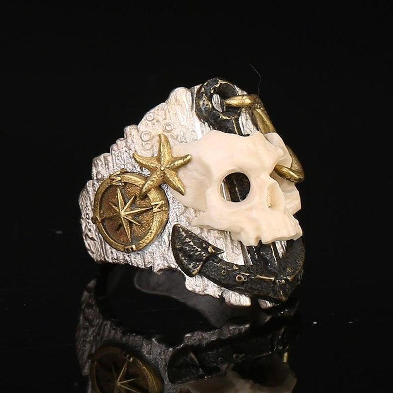 Handmade Pirate Skull Silver Ring, Mammoth Ivory Skull, Copper Anchor, Larg
