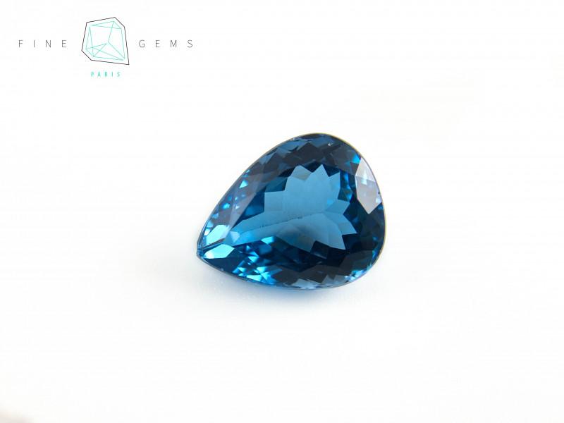 17.57 carats Swiss Blue Topaz Pear cut