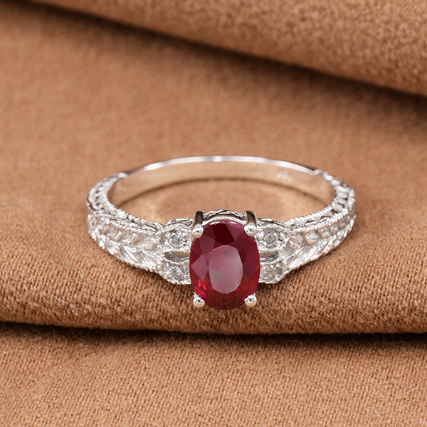 14kt White Gold Natural Ruby & Diamond Ring (GR0010)