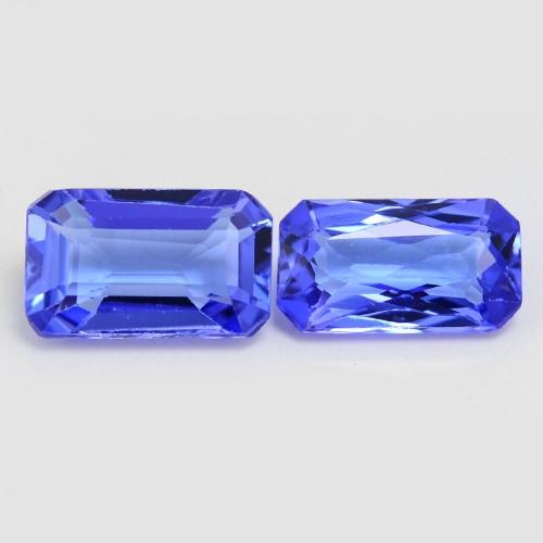0.93 Cts 2pcs Amazing rare AAA Violet Blue Color Natural Tanzanite Gemstone