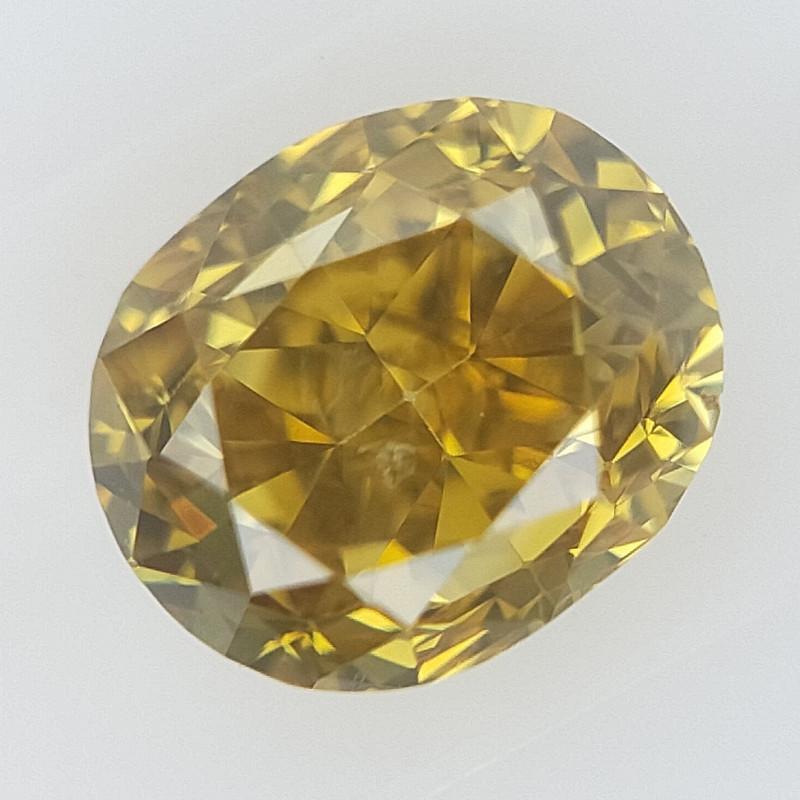 0.19 cts , Natural Yellow Diamond , Oval Brilliant cut