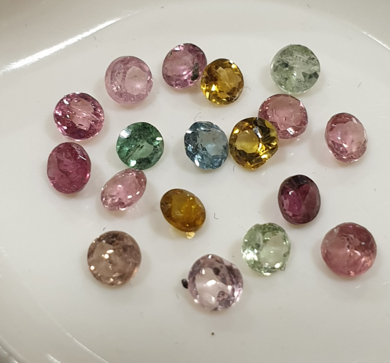 1.87Ct Tourmaline Lot Faceted Round 2.8mm.-(18pcs).-(SKU 231)