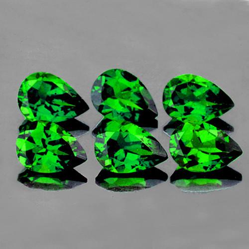 5x3 mm Pear 6 pcs 1.42cts Chrome Diopside [VVS}