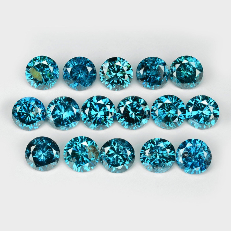 2.95 Cts 16pcs 3.6 mm Sparkling Fancy  Blue Green Color Natural Loose Diamo