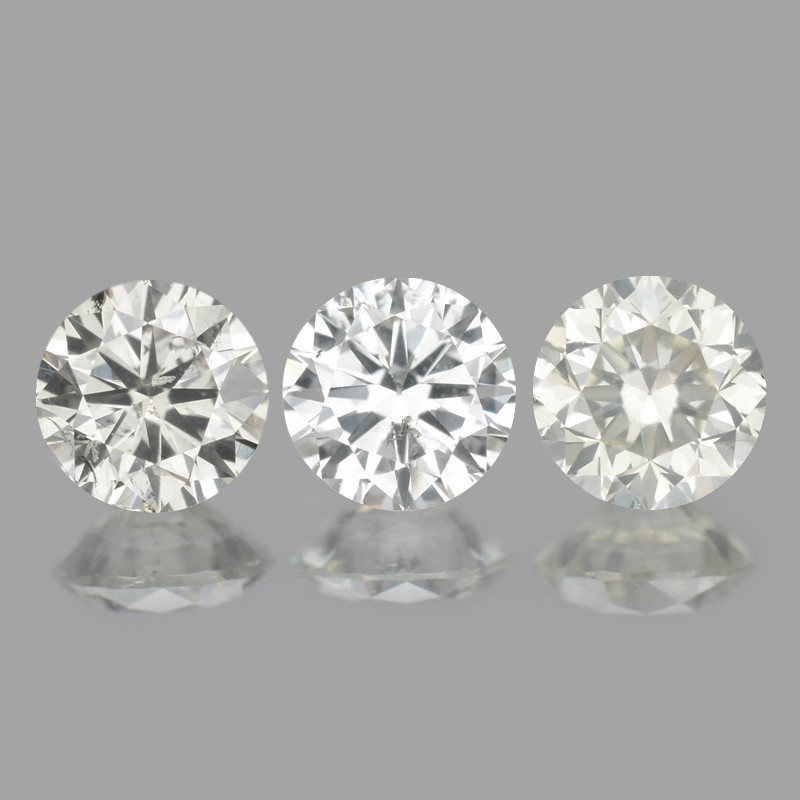 0.78 Cts 3pcs 4mm RD Untreated Fancy White Color Natural Loose Diamond