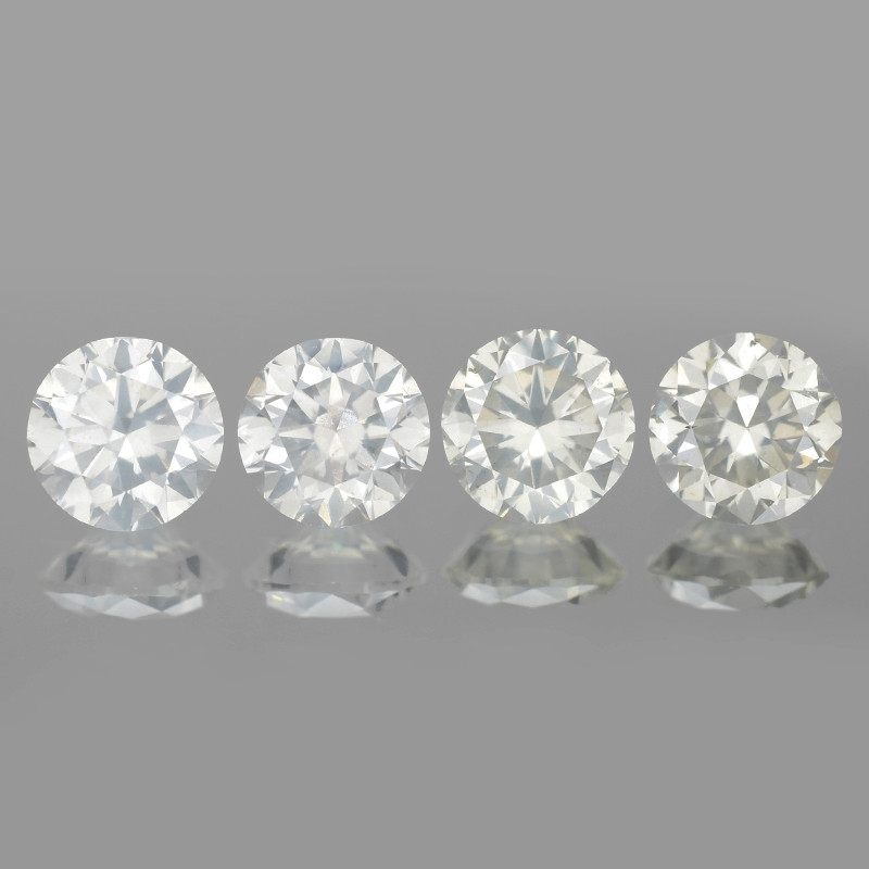 0.93 Cts 4pcs 3.8mm Rd Untreated Fancy White Color Natural Loose Diamond