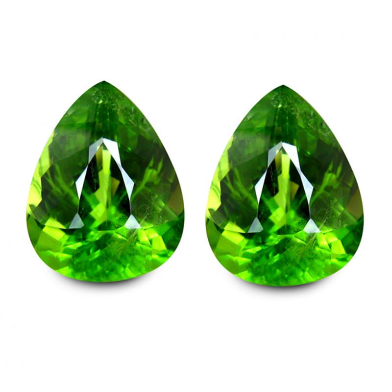 Pakistan Peridot Pair 13.23 Cts Green Portuguese Cut BGC540