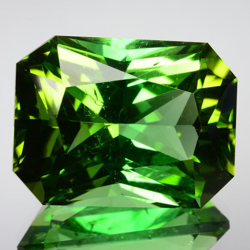~CUSTOM CUT~ 18.38 Cts Natural Fine Green Tourmaline Fancy Radiant Cut Nige