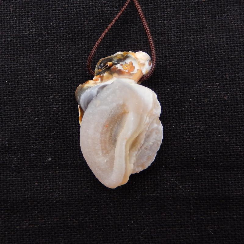 33cts Agate Necklace - Raw Agate Pendant - Raw Quartz Necklace H956