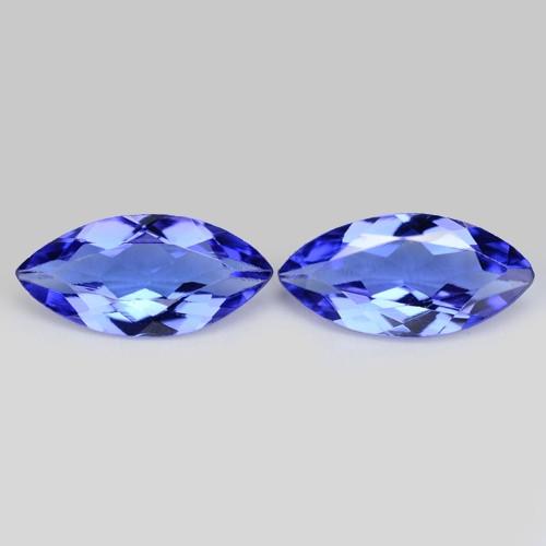 0.89 Cts 2pcs Amazing rare Violet Blue Color Natural Tanzanite Gemstone