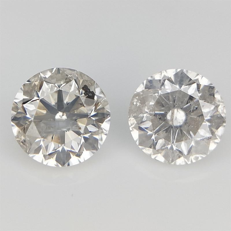 0.29 ct Light Color Diamonds Pair Round Diamonds