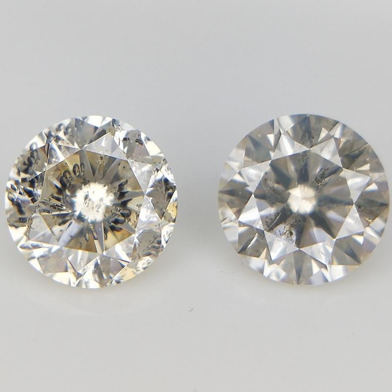 2 PCS /0.74 CT , Natural Loose Diamonds ,2 pcs Diamonds