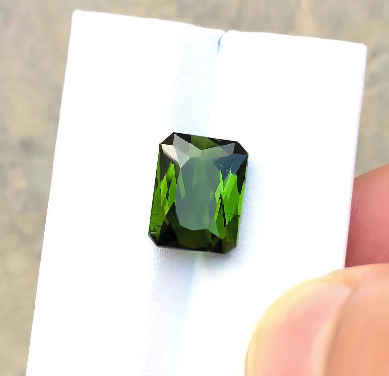 HGTL CERTIFIED 6.31 Ct Natural Olive Green Transparent Tourmaline Gemstone