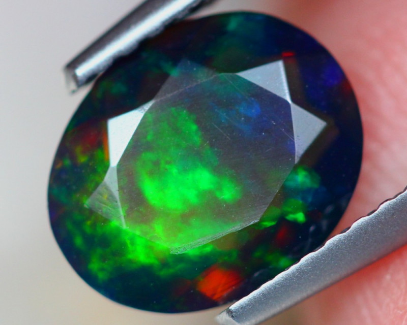 1.31ct Natural Ethiopian Welo Solid Black Smoked Faceted Opal Lot B2669