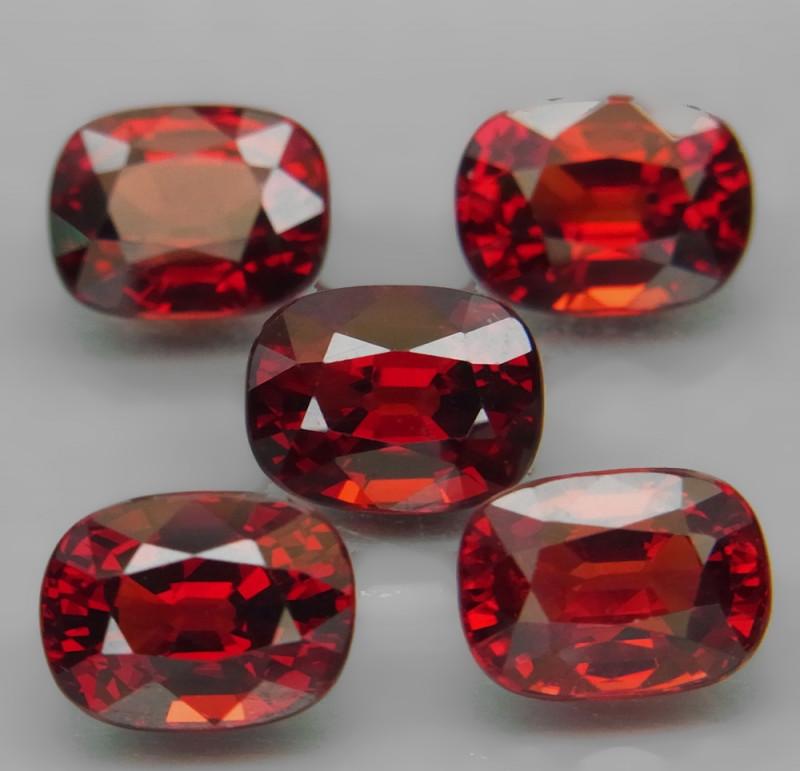 10.22  ct. Natural Earth Mined Red Rhodolite Garnet Africa - 5 Pcs