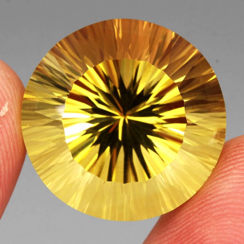 35.77 Ct. Round Concave Cut 100% Natural Top Yellow Golden Citrine Unheated