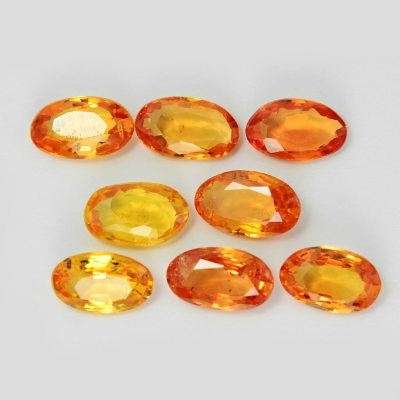 2.09 Cts 8 Pcs Amazing Rare Natural Fancy Orange-Yellow Sapphire Loose Gems