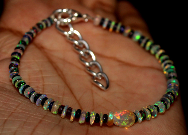 Natural Ethiopian Welo Faceted Opal & Smoked Opal Bracelet
