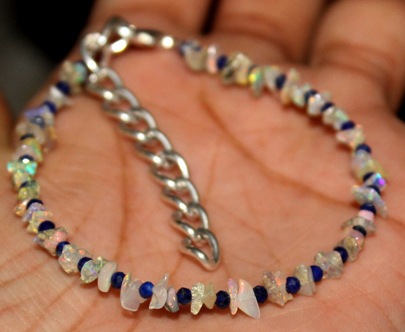 Natural Ethiopian Uncut Opal & Lapis Bracelet
