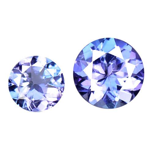 0.50 Cts 2pcs Amazing Rare A+ Violet Blue Color Natural Tanzanite Gemstone