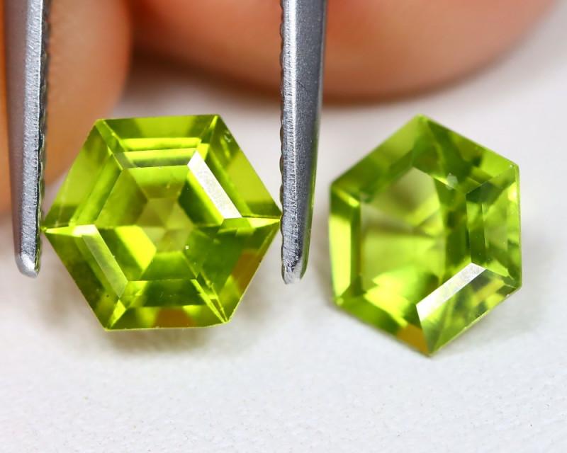 Peridot 2.01Ct 2Pcs Hexagon Cut Natural Neon Green Color Peridot B903
