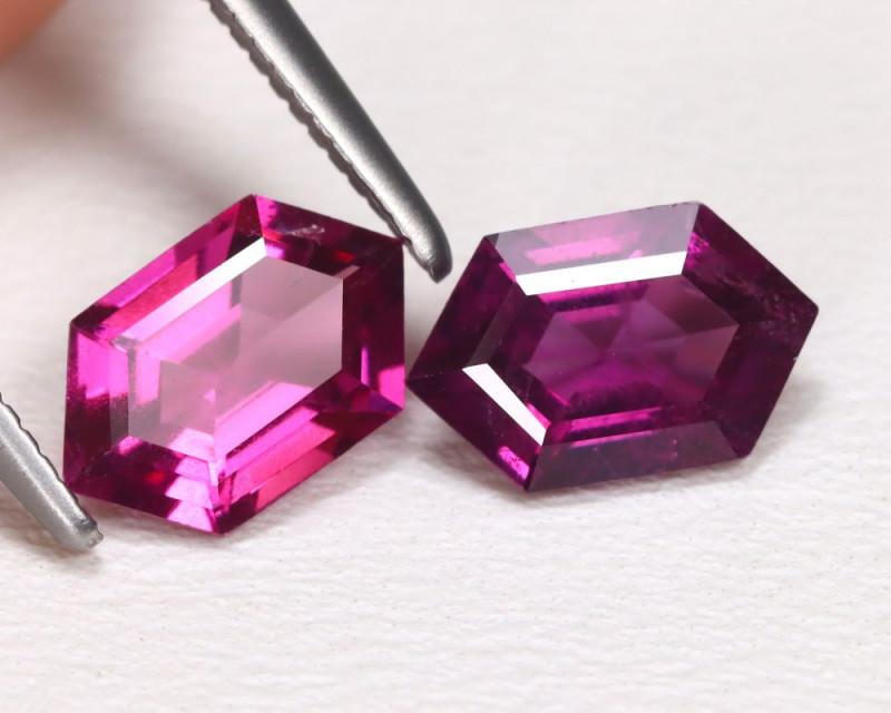 Rhodolite 2.05Ct 2Pcs Hexagon Cut Natural Rhodolite Garnet B1026