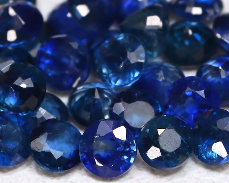 2.13Ct Calibrate 2.2mm Natural Vivid Blue Sapphire Round Lot B925