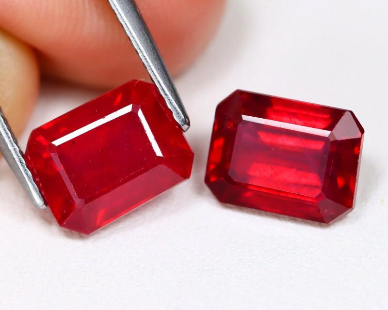 Red Ruby 6.20Ct 2Pcs Octagon Cut Pigeon Blood Re Ruby B961