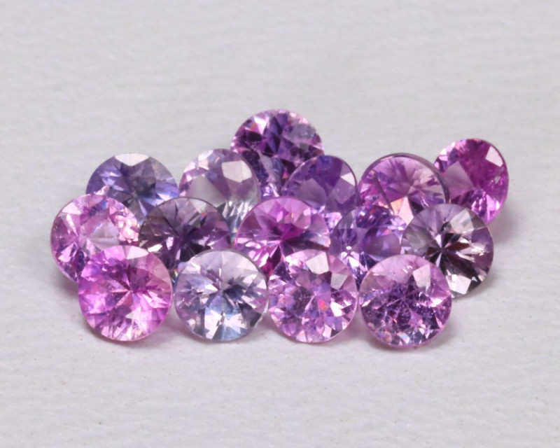 1.39Ct 2.6mm Round Natural Fancy Pink Color Sapphire Lot B1034